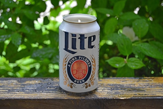 Miller Lite CANdle upcycled from a discarded beer can