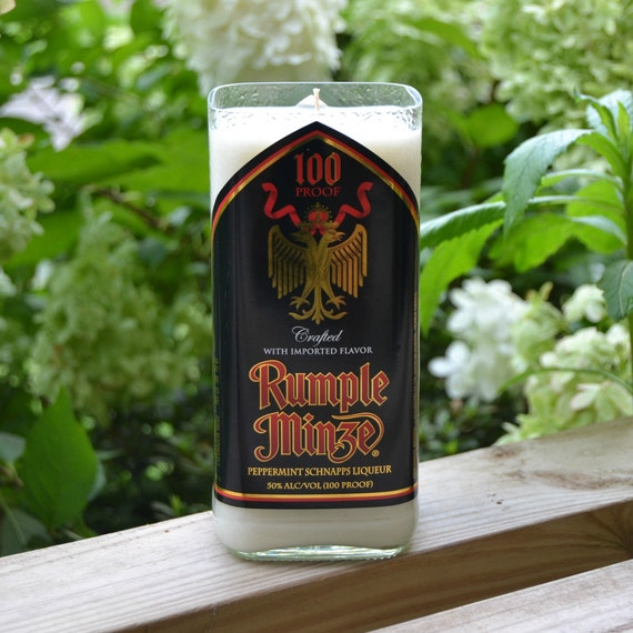 Rumple Minze Peppermint Schnapps liqueur bottle upcycled into a candle