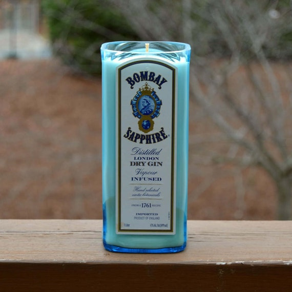 Bombay Sapphire Gin bottle candle made with soy wax
