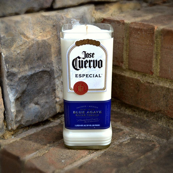 Jose Cuervo Especial Blue Agave Silver Tequila bottle candle made with soy wax