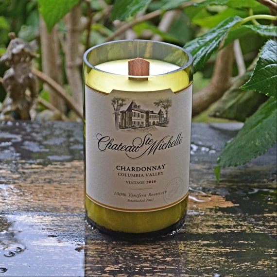 Chateau Ste Michelle Chardonnay Wine Bottle Candle
