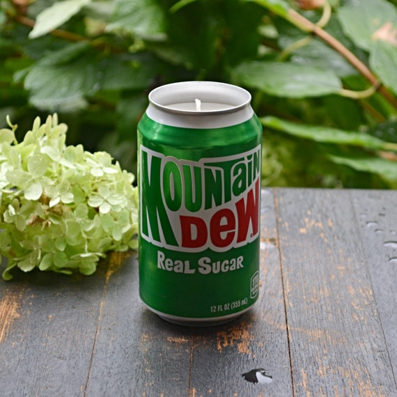 Mountain Dew Throwback CANdle made from a discarded Mtn Dew can