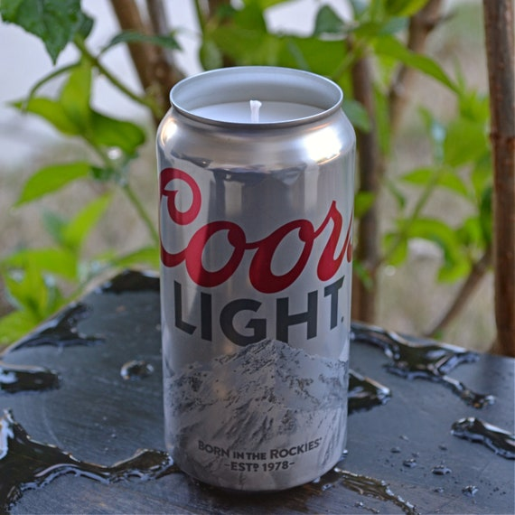 Coors Light beer CANdle upcycled from a discarded beer can
