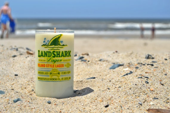 Landshark Beer Bottle Candle made from soy wax
