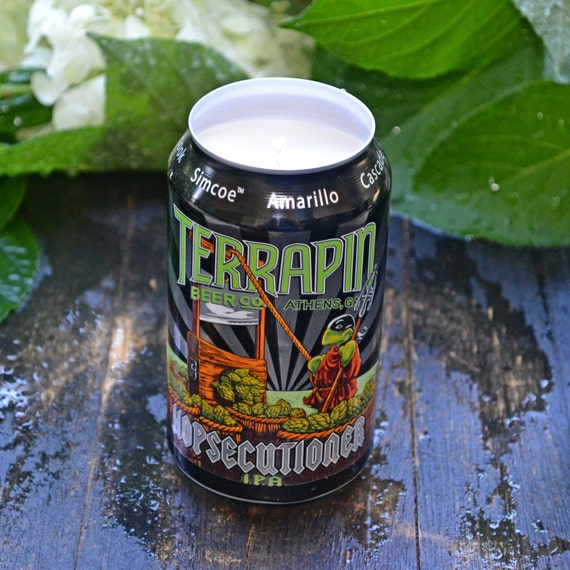 Terrapin Hopsecutioner craft beer can CANdle upcycled from a discarded beer can