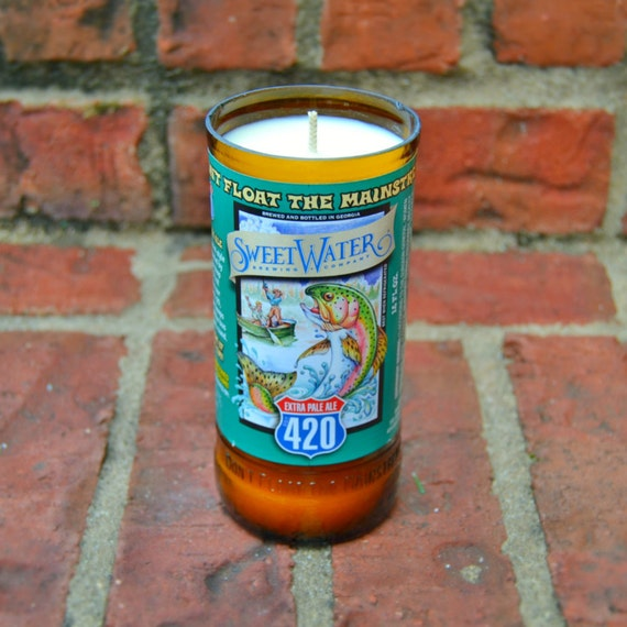 Sweetwater 420 Beer Bottle Candle made with soy wax
