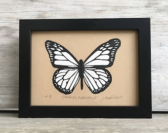 Monarch Butterfly Linocut Print - Monochrome
