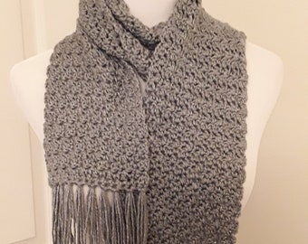 Handmade Crochet Women's / Junior's Textured Grey Fringed Scarf