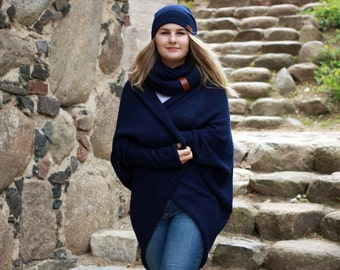 Alpaca wool oversized sweater for women, knit cardigan, navy shrug, dark blue cocoon cardigan, knitted wrap, coat
