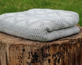 Reversible Alpaca blanket, knit wool baby wrap, knitted natural white light gray throw, baby girl, baby boy, newborn gift