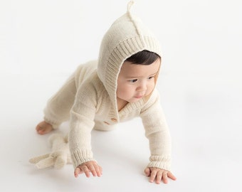 White Alpaca romper for baby, natural wool infant, toddler knit ivory overall with hood, cream children, kids hooded jumpsuit with buttons