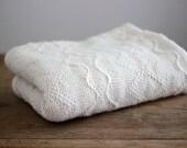 Baby Alpaca wool knit blanket, newborn natural white knitted wrap, girl light pink, cream, ivory, light beige boy blanket
