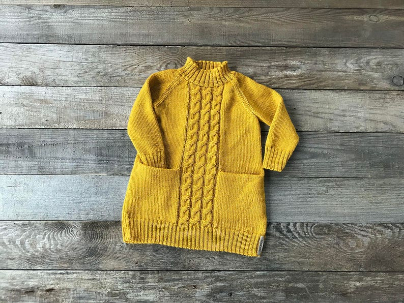c659cf4f61f0 Alpaca cable knit dress mustard girl tunic with cables yellow
