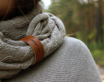 Beige Alpaca wool infinity scarf, knit textured snood with leather bracelet, brown scarf for women