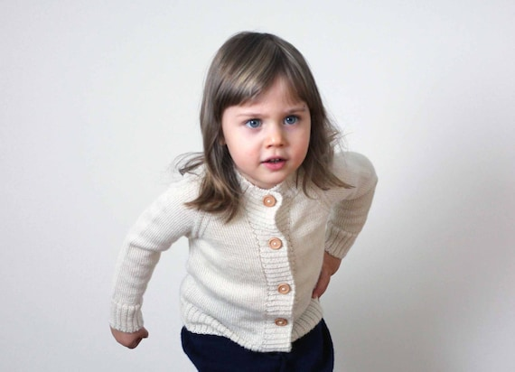 7b87311a0 Baby Alpaca knit sweater with wooden buttonsgray girl