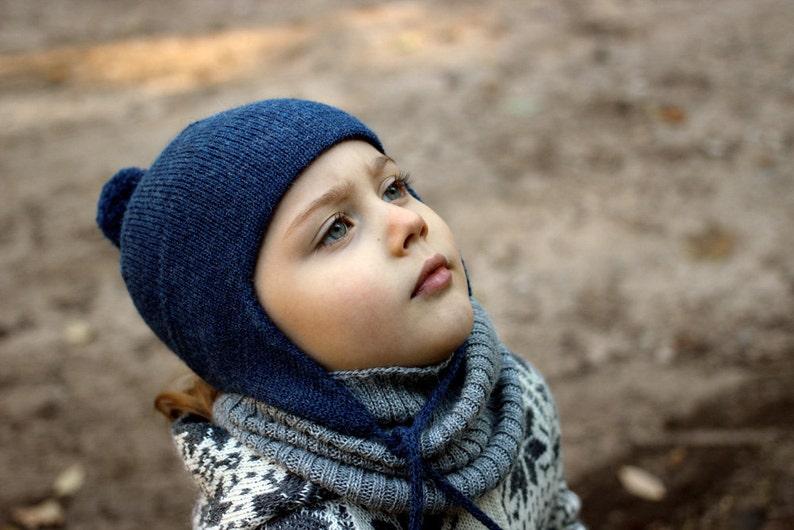 a6e2ada639b Alpaca ear flap hat with PomPom wool knit blue unisex winter