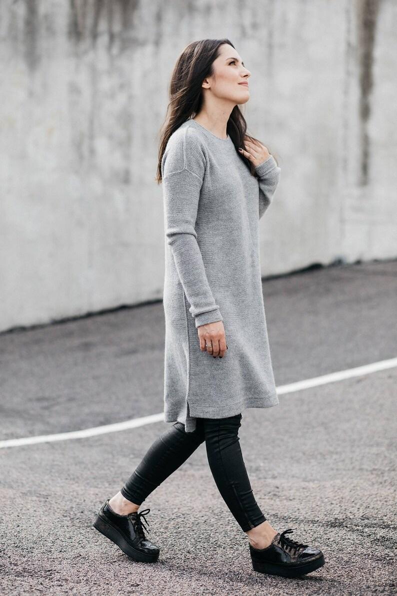 556d08dcb6b Alpaca sweater dress knit gray wool dress beige black