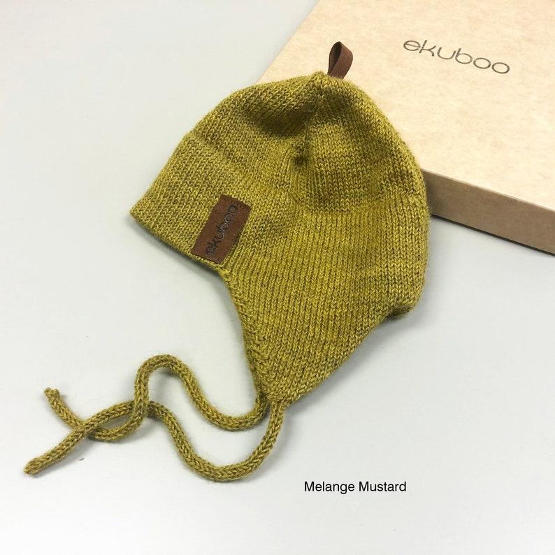 bce29f07704fd Mélange alpaga moutarde oreille rabat bonnet de laine tricot | Etsy