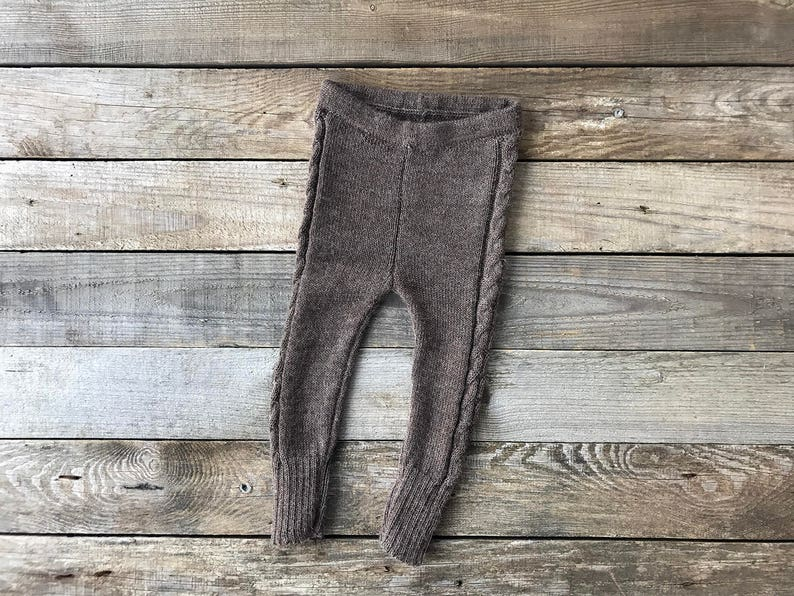 5873e758a Brown cable knit leggings alpaca wool longies for baby | Etsy