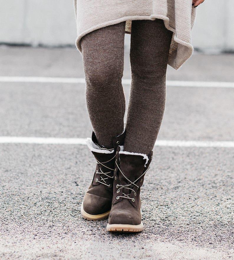 76c7cea6f813dc Brown alpaca leggings skinny pants natural wool trousers | Etsy