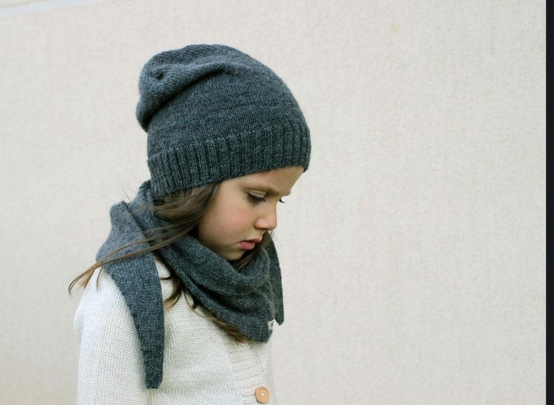 e2662433fc2 Alpaca kids hat dark gray wool knit slouchy beanie knitted
