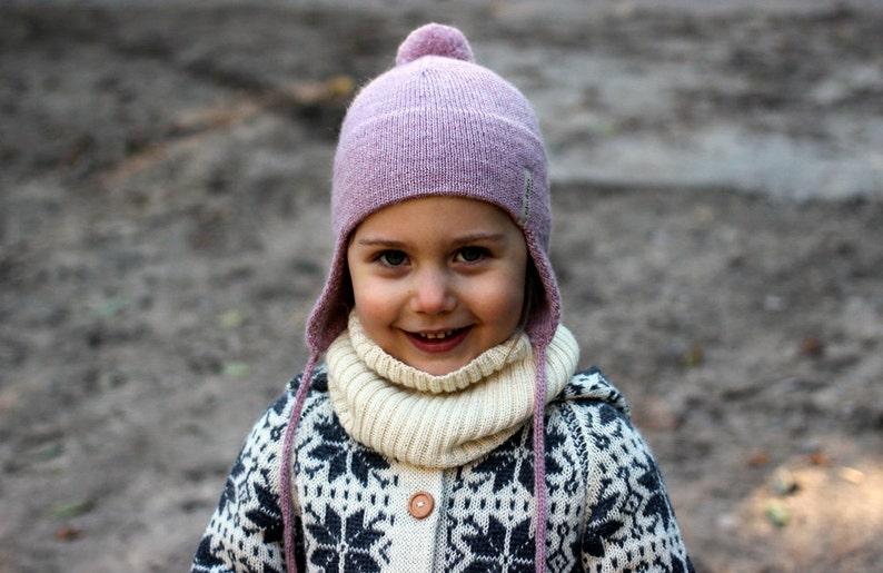 844ac3318c2 Dusty rose Alpaca ear flap hat with PomPom wool knit unisex