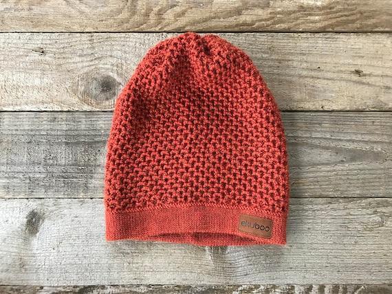 Chapeau orange alpaga tricoté en laine tuque femme tricotée   Etsy 7ff1d518a9b8