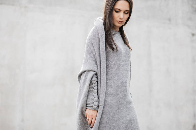 836ab4e6c Gray alpaca cocoon cardigan oversized long wool cable sweater