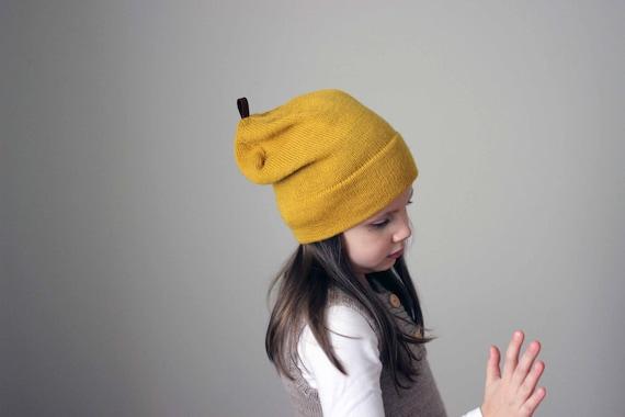 ba9fea5e786 Baby Alpaca hat wool kids knit mustard yellow hat knitted