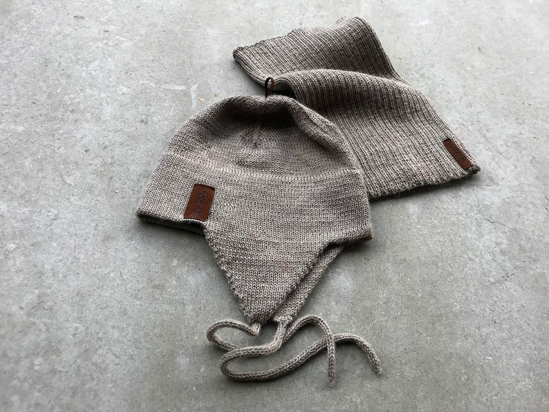 e1ccbff9c19 Alpaca hat and scarf set for kids wool beige winter hat