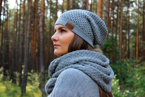 Mens Lightweight Handmade Slate Grey Alpaca Slouchy Beanie Hat