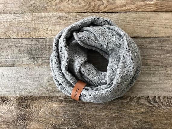 Foulard tube gris alpaga laine tricot texturé snood avec   Etsy 16465a39f0a