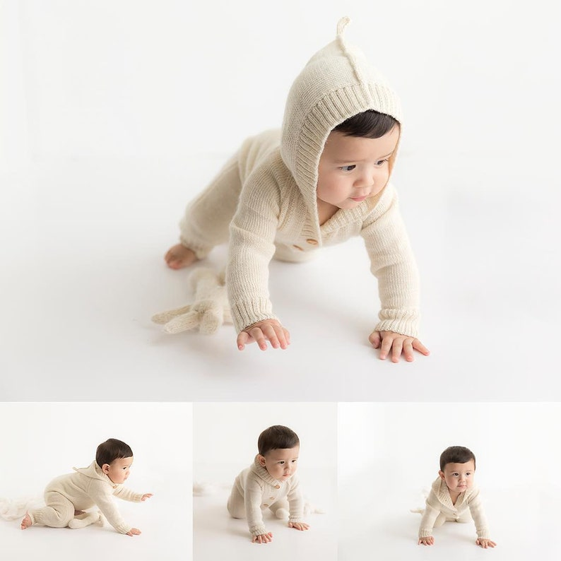 White Alpaca romper for baby natural wool infant toddler image 1
