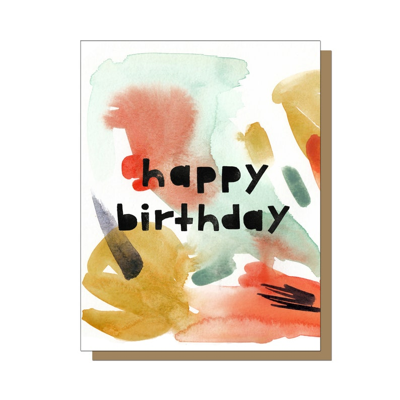 Happy Birthday Greeting Card Watercolor Gift Artsy For Him Abstract Print Linocut