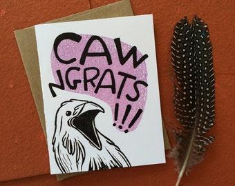Caw-ngrats Greeting Card, Congratulations Card, Graduation Card, Wedding Card, High School Graduation, College Graduation, Crow, Raven, Bird