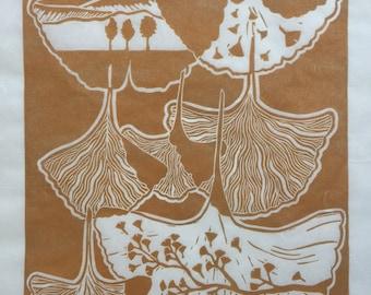 Feuille de Ginkgo en cuivre - lithographiée Original