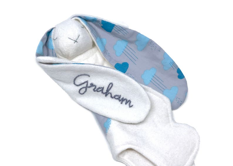 Organic: Monogrammed baby lovey  rainclouds  baby lovey  image 0