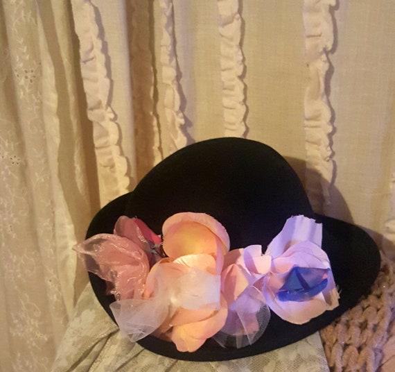 Vintage black hat, floral hat, flower millinery, f