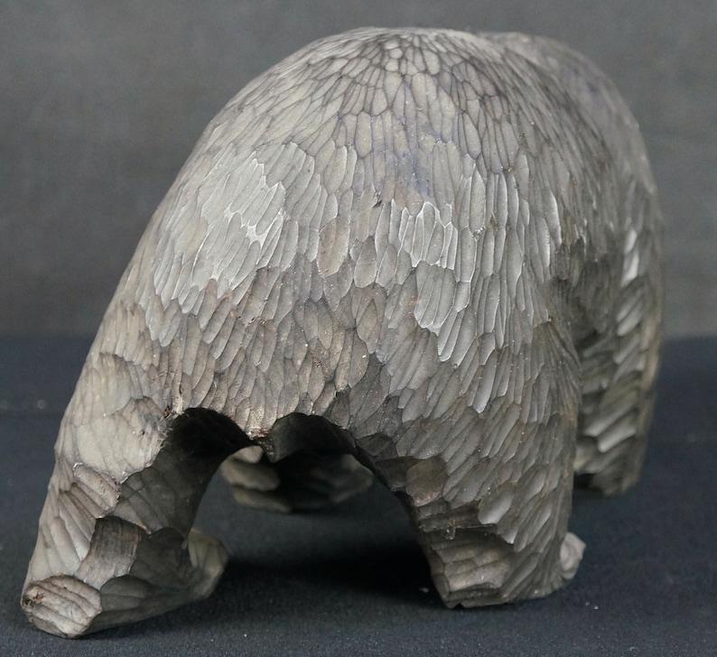 Japan bear wood carving Ainu art Okkaido 1970s hand rural craft