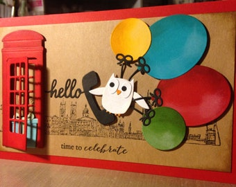 "Handmade Greetings Card ""Owl Call to Celebrate"""