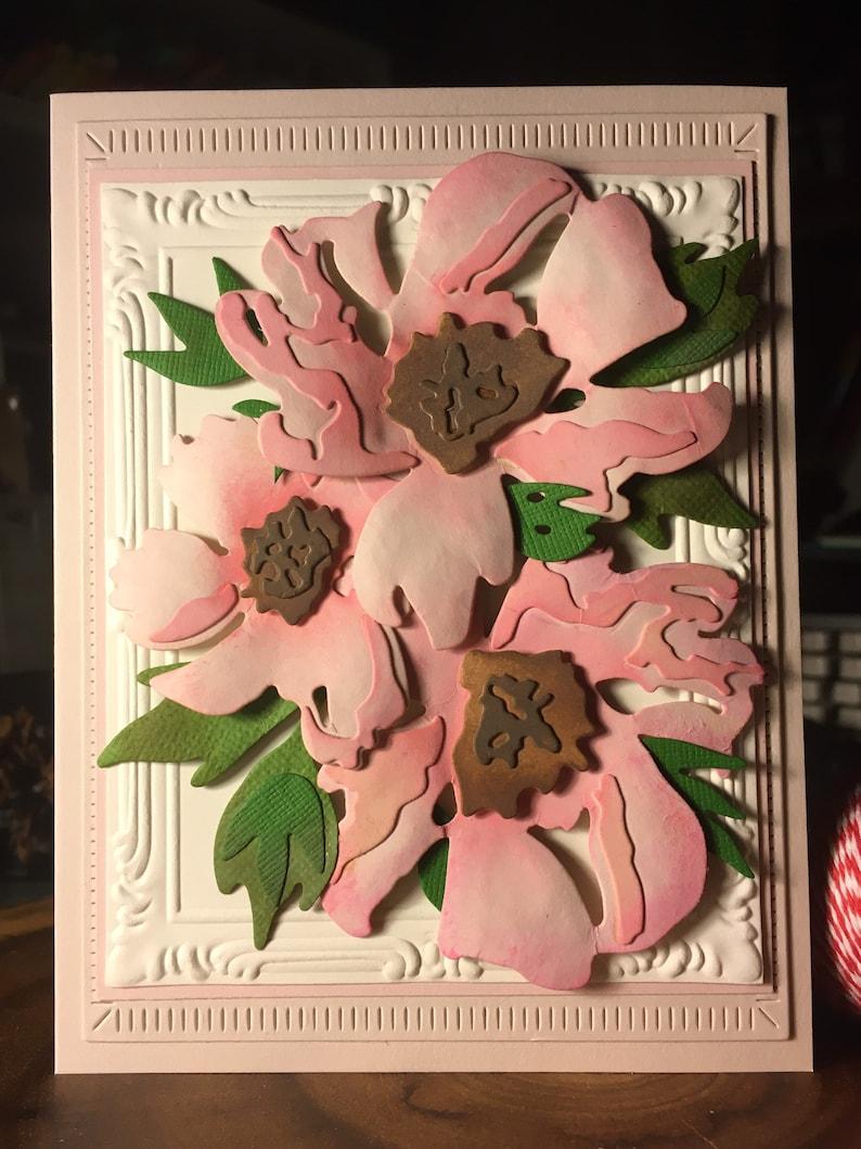 Handmade Greetings Card Pinks on Pink