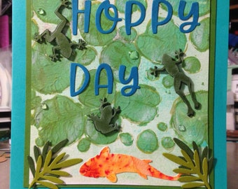 "Handmade Occasion Card ""Hoppy Frog Day"""