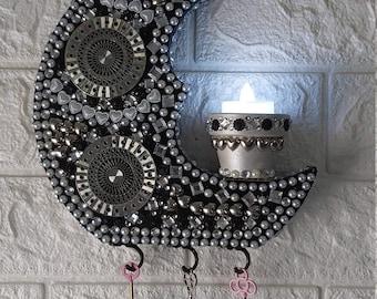 Silver Moon Night Light Key Holder