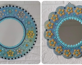 Mirror Set of 2, Flower Mirror: Set of 2, Mirror Wall Hanging, Wall Decoration,
