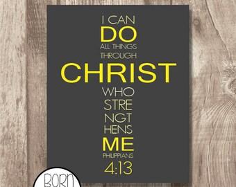 Printable Bible Verse Philippians 4:13 Yellow