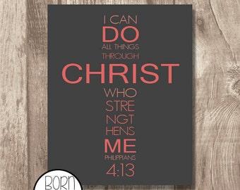 Printable Bible Verse Philippians 4:13 Pink