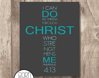 Printable Bible Verse Philippians 4:13 Blue