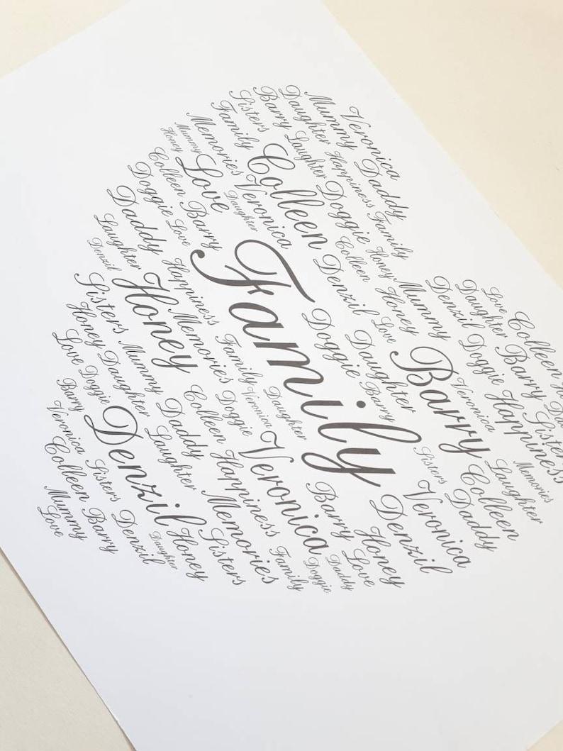 cœur Personnalisé Demoiselle D/'Honneur//demoiselle d/'honneur//mariage encadrée Imprimé Cadeau