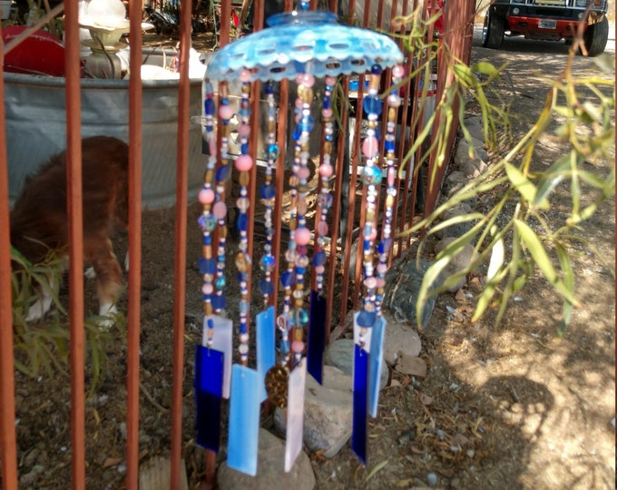 Beautiful Blue Glass Windchime - Blue and Pink