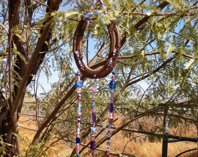 Handmade Horse Shoe Wind Chime - Pink & Blue